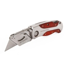 WORKPRO Folding Knife Heavy Duty Knife Stainless Steel Utility Knife with Red Rosewood Handle Hot Sale