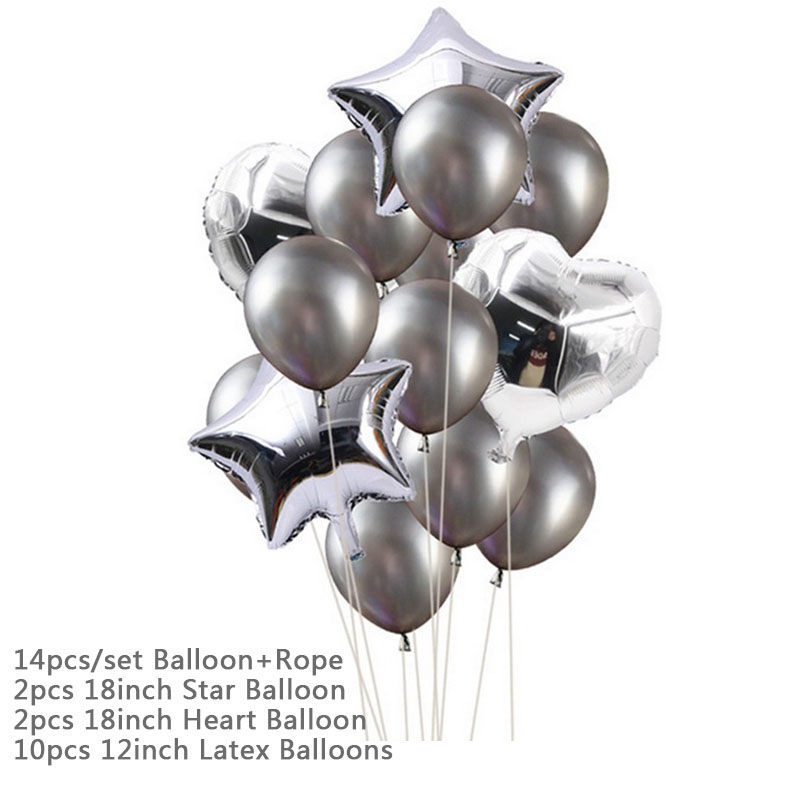 Hoomall 10/14PCs Confetti Air Balloons With Rope Heart Star Gold Champagne Latex Helium Balloon Wedding Decorations Party Supply 27