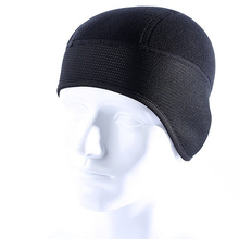 Winter Fleece Warm Protection Ear Hats Windproof Balaclava Bicycle Helmet Liner Beanies Cap Skullies Earmuffs Black(China)