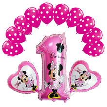 13pcs mickey minnie mouse number foil balloon star heart helium latex globos baby shower birthday party decor supplies kids toy
