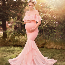 Maternity-Dresses Photography-Props Mermaid Off-Shoulder Sexy for Pregnant-Women Maxi