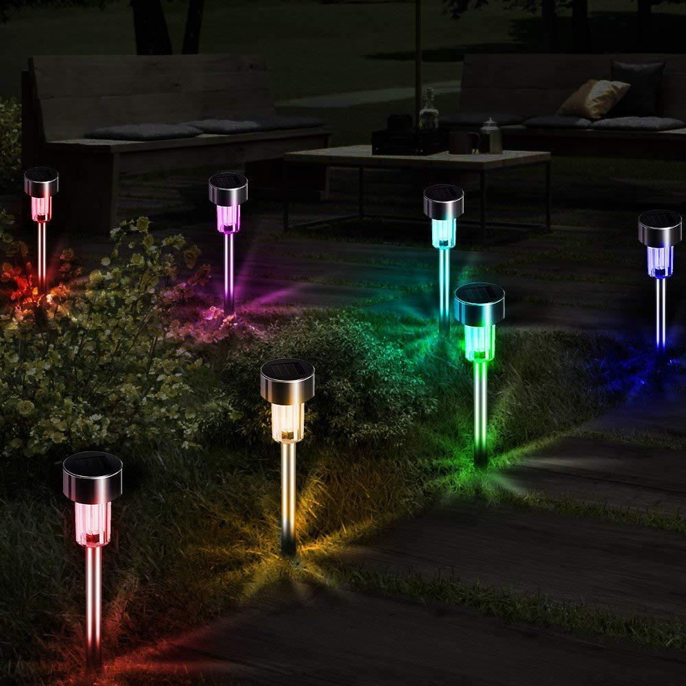 Outdoor LED Solar Garden Light Lawn Lamps Stainless Steel Pathway Stakes Disk Spike Landscape Lighting for Yard Ground Street (3)