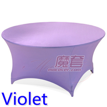 Spandex table cover Violet color round lycra stretch table cloth fit 5ft-6ft round wedding hotel banquet and party decoration(China)