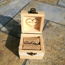 Rustic Wedding Ring Box Holder Custom Inistials Ring Box Personalized Wedding / Valentines Engagement Wooden Ring Bearer Box