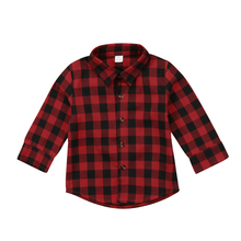 Kids Little Boys Girls Baby Letters Print Long Sleeve Button Down Red Plaid Flannel Shirt(China)