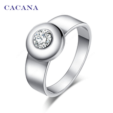 CACANA Stainless Steel Rings For Women With Round CZ Fashion Jewelry Wholesale NO.R142(China)