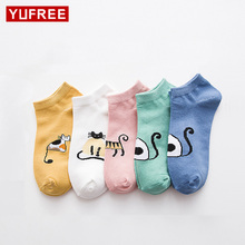 Buy Summer Women Cute Cartoon Cat Pattern Happy Socks Female Fashion Invisible Cotton Socks Ladies Boat Socks 10pcs=5Pairs/Lot for $5.08 in AliExpress store