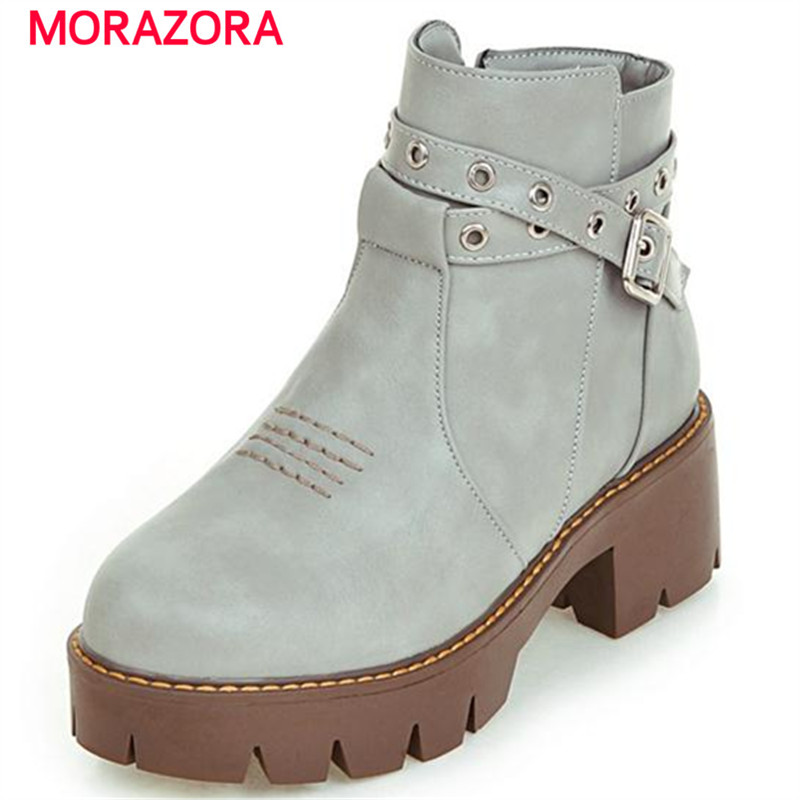 MORAZORA Personality punk ankle boots platform shoes solid buckle women boots in autumn zipper plus size 34-43 top quality <br><br>Aliexpress
