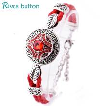 Buy Rivca Snap Button Bracelet&Bangles Jewelry Ancient Silver Plating Magnet Leather Bracelet women 18mm Snap Button P01052 for $1.76 in AliExpress store
