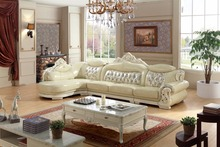 American leather sofa set living room sofa made in China L shape corner sofa wooden frame