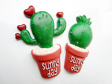 Early childhood lovely love cactus plants Home Furnishing Decor pot resin refrigerator magnet paste