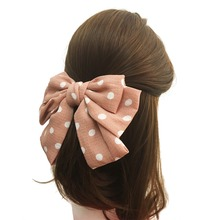 New Arrival Cloth Fabric Dot Print 7.5'' Large Bow Women Barrettes Adult Back Clips Women Accessories(China)