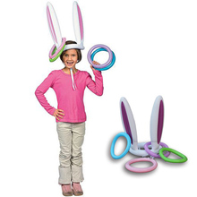 Pool Inflatable Easter Bunny Ears Rabbit Hat Ring Toss party Game Ferrule Tools  Party Decoration Children Outdoor Game Toy