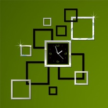 Watch the clock stereo mirror personality wall decorations wallpaper square wall clock CL021