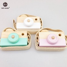Let's make Baby Kids Cute Wood Camera Toy 2pc Children Fashion Clothing Accessory Toys Birthday Children's Day Gift Wood Blocks