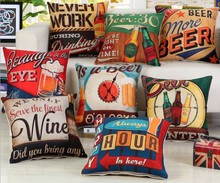 Wine Beer Never Work Printing Bar Cushions Cover Home Chair Bed Bed Seat Decorative Pillow Case Linen Capa Almofada 45x45cm B160