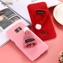 KISSCASE Girls Warm Soft Fur Plush Phone Case For Samsung S7 S7 Edge S6 S6 Edge Hat Ball Fur Back Cover For Galaxy S7 S6 Edge