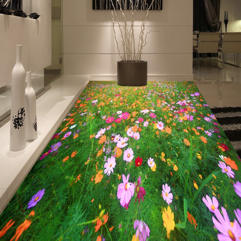 Free Shipping Plants flowers sea grass floor painting wallpaper hotel waterproof wear self-adhesive floor mural<br><br>Aliexpress
