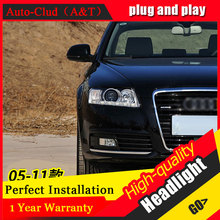 Auto Clud Car Styling For Audi A6 led headlights 05-11 For A6 head lamp led DRL front light Bi-Xenon Lens Double Beam HID KIT(China)