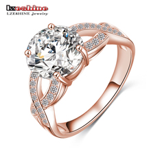 LZESHINE Free Shipping Unique Design Hollow Gold/Silver Color Fashion Punk Women Rings Jewelry Clear AAA Zircon CRI0013(China)