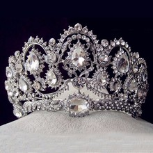 Silver Vintage Bridal Hair Accessories Jewelry Rhinestone Large Pageant Crowns Crystal Wedding Queen Prom Tiaras For Bride