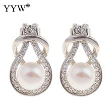 YYW Lucky Jewelry Freshwater Pearl Earrings Natural Real White Button Pearl Rhinestone Charm New Designs Pearl Stud Earrings