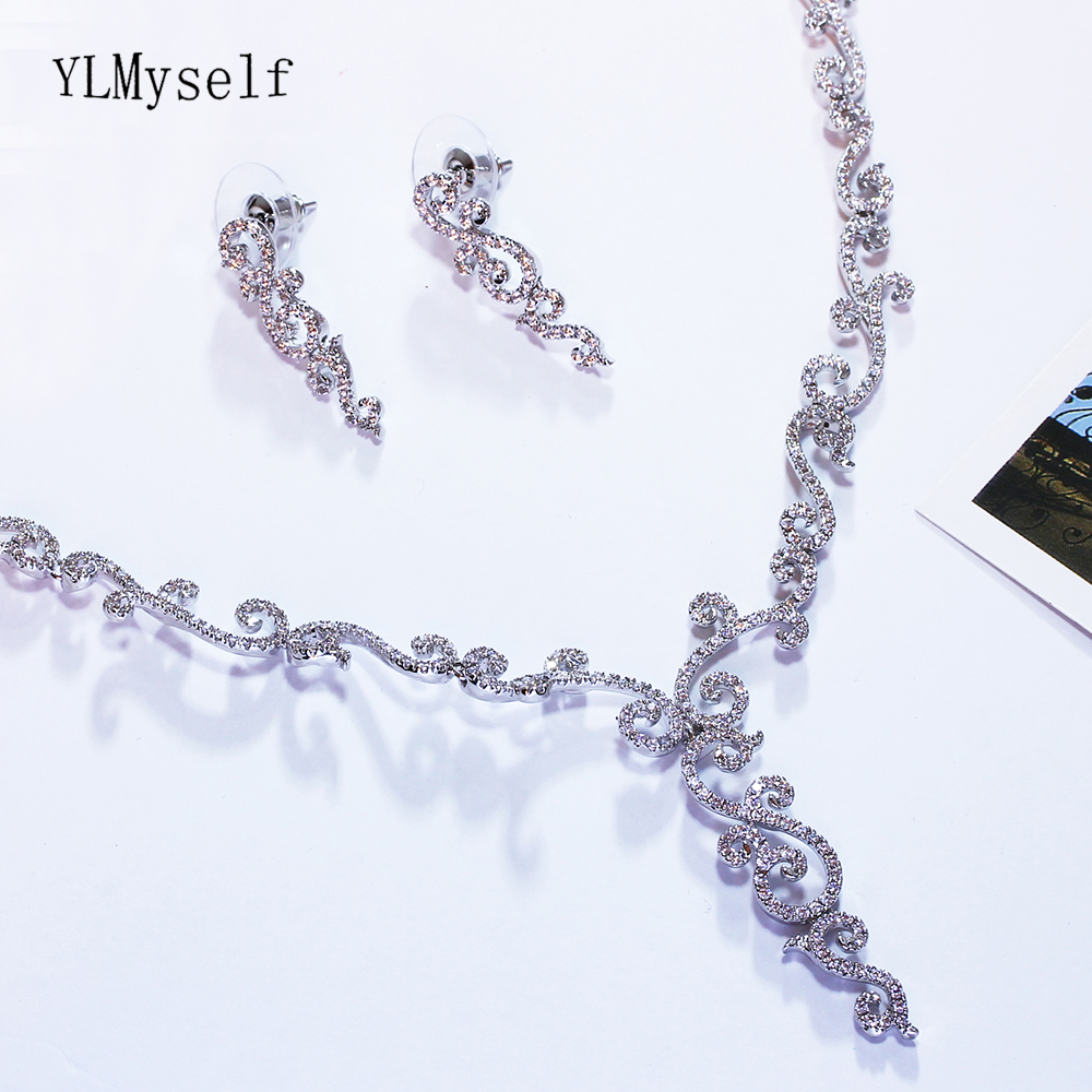 New Elegant necklace earrings sets for party White CZ crystal stones beautiful women 2pcs jewelry set