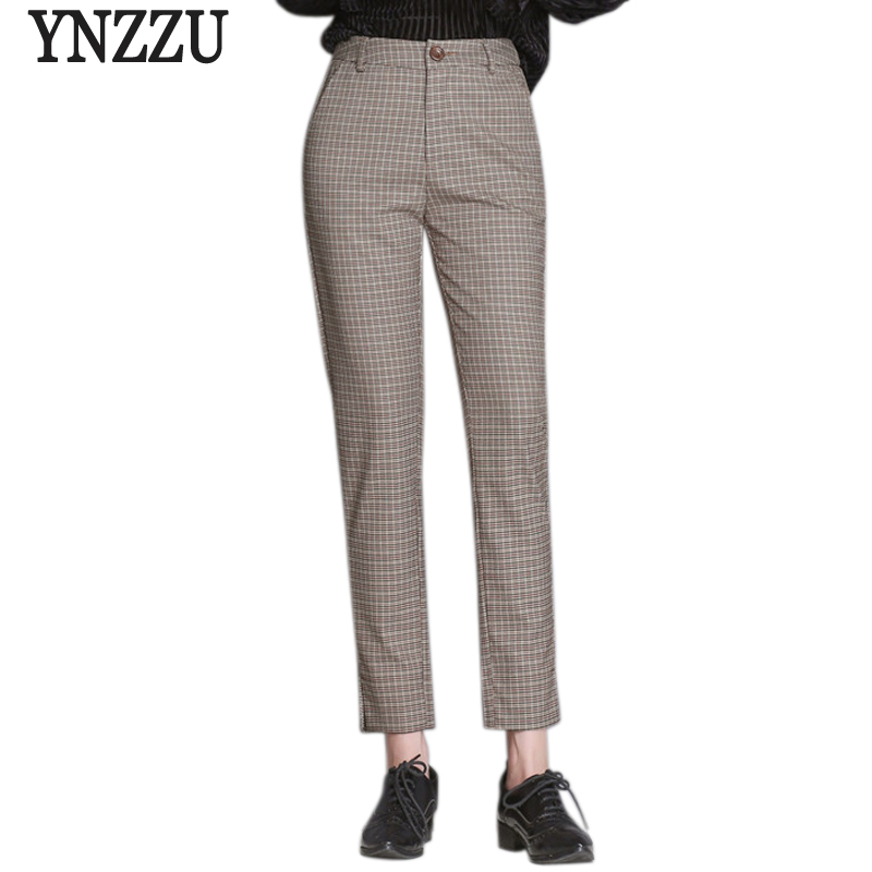 YNZZU Korean Style Fashion Plaid Pants Women 2018 Autumn Winter High Waist Plus Size Pencil Pants Trousers pantalon femme YB249