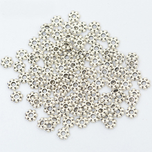 200pcs 6mm Daisy Flower Gold Silver Color Spacer Loose Metal Beads For Jewelry Making Diy Bracelet Accessories Needlework Supply(China)
