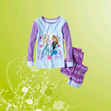 Retail 2016 Hot Sale Girls Clothing Set  Anna& Elsa Lavender Long-Sleeve Children Pajama Set Kids Pyjamas Set  X009