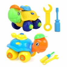 New DIY Disassembling Small Turtle Puzzle Children Assembled Model Tool Clamp With Screwdriver Educational Toys Random Color(China)