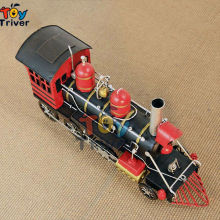 High Simulation handmade 1870 Black  steam locomotive train model creative vintage craft Valentine's gift toy home shop deco