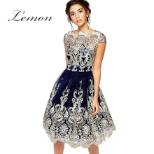 Lemon Elegant Lace Women Fashion Vestidos Vintage Embroidery Hollow Out Midi Dress Short Sleeve Ball Gown Party Dress