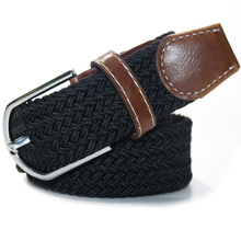 Limit buy Unisex Solid color Weave Belt Alloy Pin Buckle Stretch Woven Canvas Belt