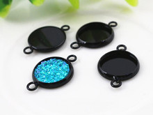16pcs 12mm Inner Size Black Plated Brass Material Simple Style Cabochon Base Cameo Setting Charms Pendant Tray (A1-29)