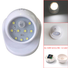 9 LED Wireless Motion Sensor Night Light 360 Degrees Rotation Wall Lamp Auto PIR IR Infrared Detector Security Lamp,AAA