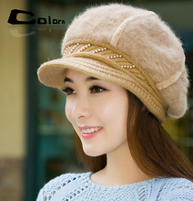 Girls winter rabbit fur hats pumpkin shape pearl wool hat knitted cap decorated woman head loose casual beanie Peaked caps