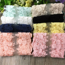 8 colors 12cm width jacquard Flower Lace Ribbons embroidered organza Lace Hair bows Wedding Dress Garments Accessories G1578