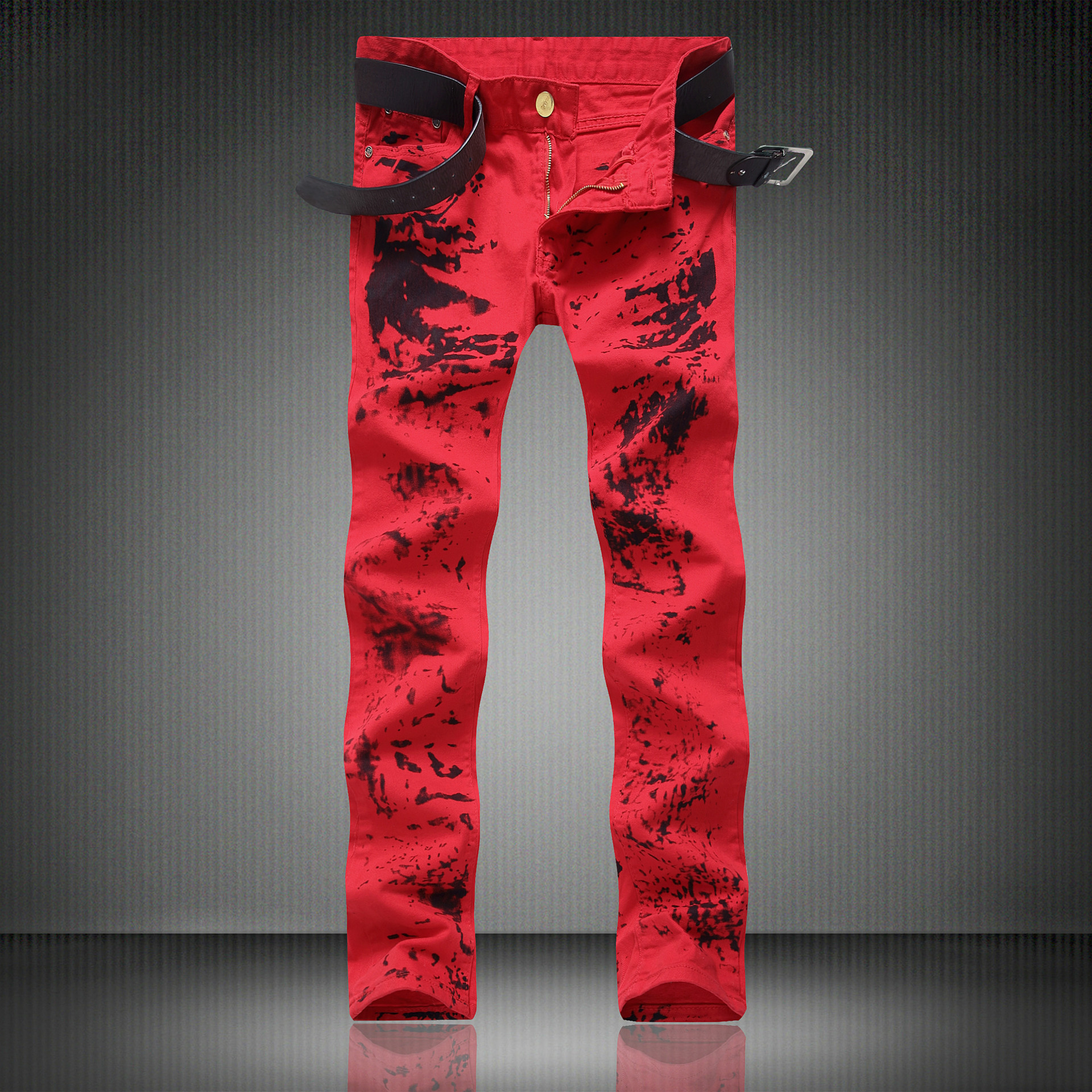 High Quality Red Print Jeans Men Moto Zipper Rap Jeans 2017 New Mens Pants Slim Fit Jeans Men Biker Denim Red Classic Jean menÎäåæäà è àêñåññóàðû<br><br>