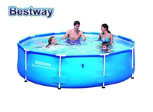 "56406/56493 Bestway STEEL PRO Dia10'x30"" Round Frame Swimming Pool for Family/Dia305*Ht76cm Outdoor Above Ground Pool No filter"