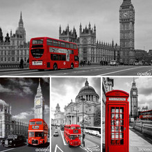 DIY Diamond Painting Red London Bus Decorative Picture of Rhinestone Mosaic Cross Stitch Diamond Pattern 5D Diamond Embroidery(China)