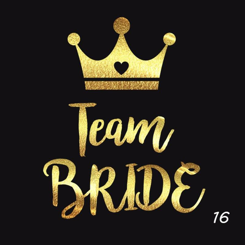 5Pcs/lot Flash Bride Tribe Temporary Tattoo Sticker Bachelor Party Bridesmaid Wedding Party Body Art Glitter Tattoo Decals Y2 2