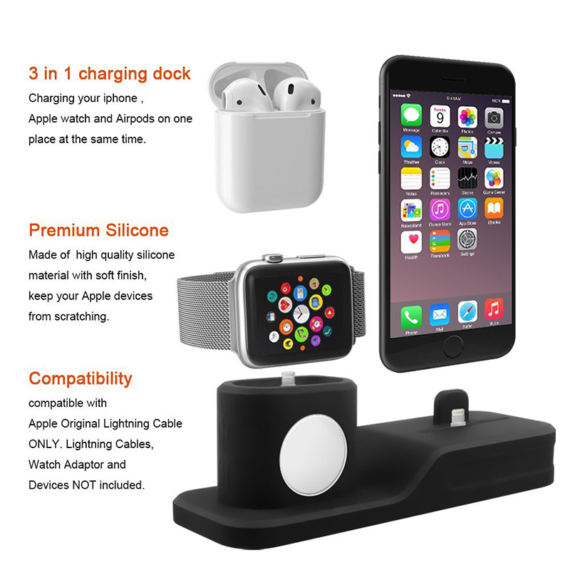 3 in 1 Charging Dock Holder For Iphone X Iphone 8 Iphone 7 Iphone 6 Silicone charging stand Dock Station For Apple watch Airpods (10)