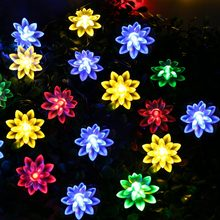 Solar-Powered 6M 30 LED Ledertek Lotus Flower Solar String Lights Waterproof Solar Powered Fairy Lights For Garden Light Party(China)