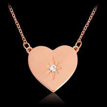 Starburst Heart shaped Pendant Necklace For Women Girl Rose Gold Crystal Rhinestones DIY Necklaces Fashion Jewelry Gift
