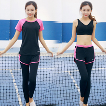 High Quality 3 Pieces in 1 Yoga Set Long Sleeves & Bra & Pants & Shorts Gym Clothes Sport Wear Training Suit Running Outdoor Jog