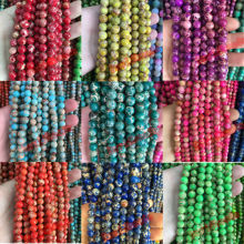 Natural Stone Red magenta Purple Green Lake Blue Sea Sediment Imperial Jaspers Round Loose Beads 6 8 10 12MM Pick  For Jewelry