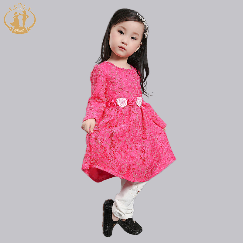 Nimble New Arrival Autumn Winter Baby Girls Dress Lace Rose Cute Full Mid-Calf Sleeve Girl Clothing<br><br>Aliexpress