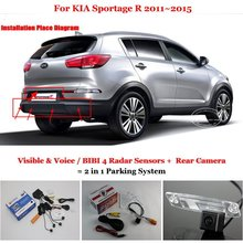 Car Parking Sensors + Rear View Camera = 2 in 1 Visual Alarm Parking System For KIA Sportage R / Sorento / NAZA Sorento