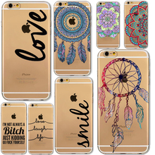 Soft TPU Dream Catching Phone Cases Cover for iPhone 6 6S 7 7Pls 6Plus 6SPlus 5 5S Fashion Words Phone Back Case funda iphone 6